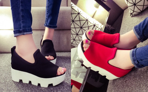 2015夏季韩版鱼嘴女凉鞋特卖!韩国最潮流行款式,超高厚底内增高帆布鞋来袭,简约时尚穿着舒适!